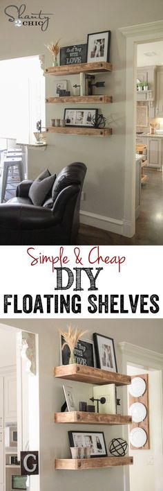 Simple & Cheap DIY Floating Shelves! FREE plans and tutorial at Shanty-2-Chic.com