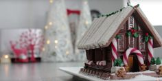 Gingerbread house made with Kit-Kat candy. The video is mesmerizing.