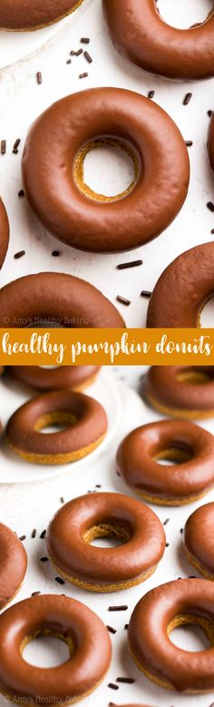 {HEALTHY!} Pumpkin Donuts with Chocolate Glaze -- only 41 calories & baked, not fried! They taste AMAZING! Like pumpkin pie! The BEST pumpkin donuts you'll ever eat! #recipe