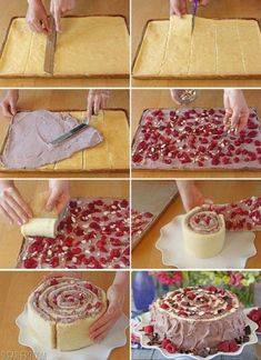 This Raspberry Almond Spiral Cake is one gorgeous dessert! Almond cake, chocolate whipped cream, and fresh raspberries are rolled in a beautiful spiral! Amish Recipes, Sweet Recipes, Cake Recipes, Dessert Recipes, Just Desserts, Delicious Desserts, Yummy Food, Cake Cookies, Cupcake Cakes