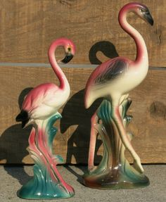 Mid-Century pair of glazed ceramic flamingos. Originally figurines such as these were very popular and often collected to place in home