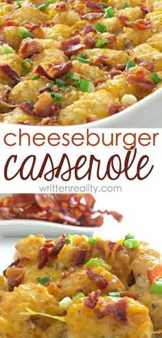 Tater Tot Casserole Ground Beef This Cheeseburger Casserole recipe is a Southern comfort food favorite. It's filled with ground beef and topped with bacon--a crowd-pleasing recipe you'll love! (Baking Pasta With Ground Beef) Dinner Casserole Recipes, Breakfast Casserole, Casserole Dishes, Easy Dinner Recipes, Pasta Casserole, Breakfast Potatoes, Dinner Ideas, Casserole Ideas, Simple Recipes