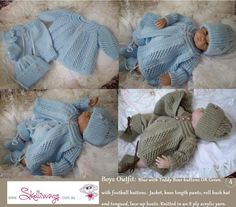 Hand knitted baby clothes. Made