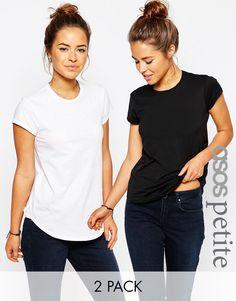 Bild 1 von ASOS PETITE – The Ultimate – 2er Pack Rundhals-T-Shirts, 15% Rabatt