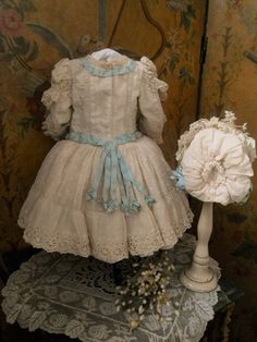 ~~~ Marvelous French Bebe Muslin Costume with Bonnet ~~~ from whendreamscometrue on Ruby Lane