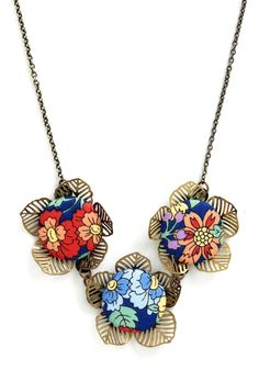 is made of buttons, could be made  Once and Fleur All Necklace - Multi, Floral, Buttons, Party, Flower, Beach/Resort