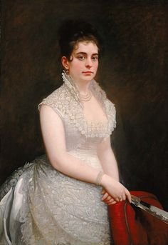 """Alice Pike Barney, in Wedding Gown,"" by Jared B. Flagg, 1876, oil on canvas, at the Smithsonian American Art Museum."