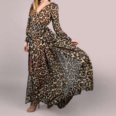 A Leopard Swagger Long-Sleeved Belt maxi dress maxi dress outfit maxi dress summer maxi dress casual floral maxi dress boho maxi dress Vestido Maxi Floral, Chiffon Maxi Dress, Maxi Dress With Sleeves, Maxi Dresses, Sleeve Dresses, Sheath Dress, Party Dresses, Wrap Dress, Chifon Dress