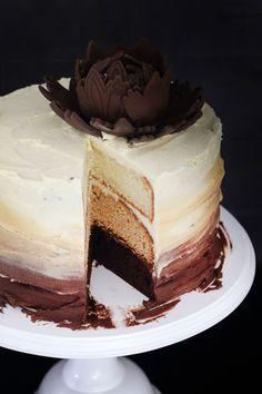 Decadent Triple Layer Ombré Cake Recipe (Caramel, Chocolate, and Vanilla Cake) | Crush Magazine