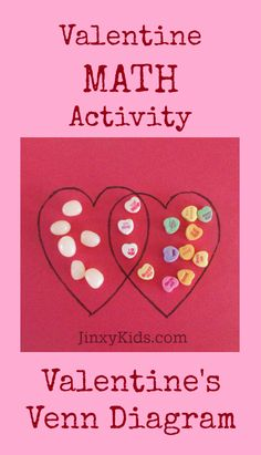 Valentine's Venn Diagram - In this simple Valentine math activity, your young learner will compare two types of Valentine's Day candy using a Venn Diagram. Valentines Day Party, Valentine Day Crafts, Love Valentines, Math For Kids, Fun Math, Crafts For Kids, Maths, Valentine Activities, Kids Learning Activities