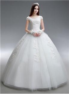 Appliques Summer Scoop Fall Winter Lace-up Garden/Outdoor Short Sleeves Wedding Dress
