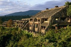 Check this out!  The Ngorongoro Serena Lodge is actually built into the side of a mountain.  Each room has a view overlooking the wild life.