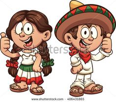 Cartoon kids in traditional Mexican clothing. Vector clip art illustration with simple gradients. Some elements on separate layers.