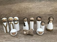 Beautiful, handmade all-white nativity to match your modern Christmas decor. Also great as toys for your little one. Order includes 11 pieces: Baby Jesus, Mary, Joseph, Shepherd, Shepherd Boy, Angel, 3 Wise Men, 2 Sheep. The adult peg dolls are 3-1/2 to 3-9/16 tall. The boy is 2-3/8 tall