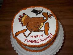 """Scared Turkey"" Thanksgiving cake"