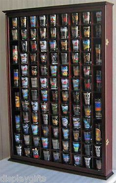 100 Shot Glass Display Case Rack Wall Curio Cabinet, 1 Door For 100% Exposure