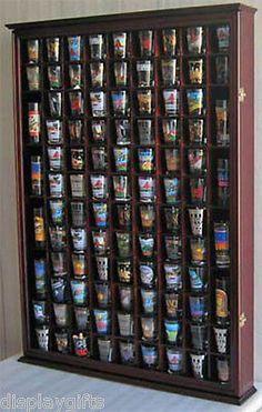 100 Shot Glass Display Case Rack Wall Curio Cabinet, 1 Door For 100% Exposure