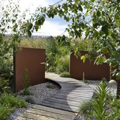 Corten steel wall landscape feature