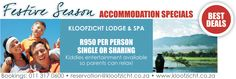 For only R950 per person single or sharing this Festive Season. The rim-flow pool with outdoor jacuzzi,  wooden decks, Spa and expanses of veld with walking trails all lend itself to reflection and me-time.  Terms and conditions apply and special is valid 1 Dec 2013 – 31 Jan 2014. To book, contact 011 317 0600 or reservation@kloofzicht.co.za. Spa packages and further information available on www.kloofzicht.co.za