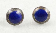 Sterling Lapis Stud Earrings - Garden Party Collection Vintage Jewelry