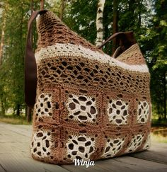 Knitted bag, crochet bag, brown by Knitted things of a Winja on Zibbet