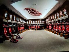Red Wings lockerroom at Little Caesar's Arena.
