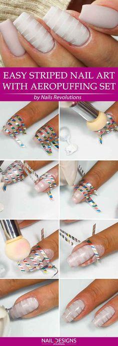 Super Easy Aeropuffing Nail Art Tutorials To Do At Home: Easy Striped Aeropuffing Nail Art #nails; #nailart; #tutorial