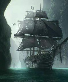 Ghost ship, don't reveal its a ghost ship till someone clambers aboard (pirate looking for treasure?) and the pov laments someone else being added to the crew of the dead. Heavy description on ship. Pirate Art, Pirate Life, Pirate Ships, Pirate Crafts, Pirate Skull, Fantasy Landscape, Fantasy Art, Arte Assassins Creed, Old Sailing Ships