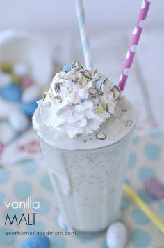 Vanilla Malt topped with crushed malted milk balls.  Yum!