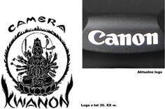 Pierwszy aparat wyprodukowany przez firmę nazywał się Kwanon - na cześć buddyjskiej bogini miłosierdzia. Pierwsze logo przedstawiało jej wizerunek z wieloma ramionami i płomieniami. Z czasem, wraz z globalną ekspansją firmy, znak graficzny ulegał uproszczeniu.