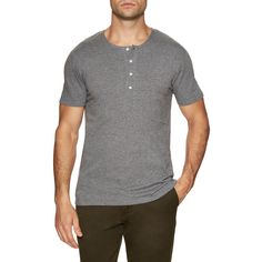 SHADES OF GREY BY MICAH COHEN Men's Short Sleeve Henley - Grey - Size... ($39) ❤ liked on Polyvore featuring men's fashion, men's clothing, men's shirts, men's casual shirts, grey, mens crew neck t shirts, mens gray dress shirt, mens short sleeve casual shirts, mens grey shirt and j crew mens shirts