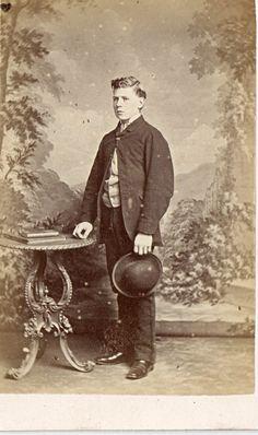 CDV -Vintage Photograph Young Man holding hat . LONDON c1860s