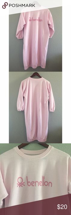 "1980s Vintage Pink Sweatshirt Dress 1980s Vintage Pink Sweatshirt Dress from United Colors of Benetton. 3/4 sleeves and front pockets.  Small stain by the pocket as shown. 37"" long. Fits small or medium. United Colors Of Benetton Intimates & Sleepwear Pajamas"