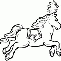 Printable Gallant Horse with Saddle - FreePrintable.com