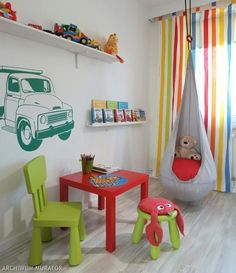 Modern kids room decorating calls for vibrant colors, unusual patterns and engaging images Toddler Playroom, Playroom Ideas, Toddler Bed, Kids Bedroom, Bedroom Decor, Bed Headboard Design, Creative Kids Rooms, Kids Room Lighting, Room Colors