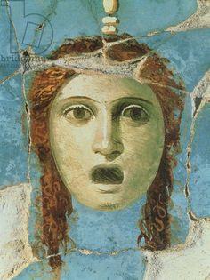 Pompeii Wall Fresco of a female head, 1st century AD