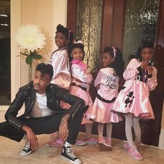 """August Alsina and his nieces. Their hair is on point! #Grease #xoHalloween """