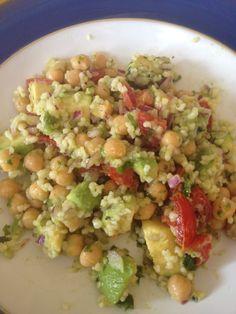 My signature #salad! #avocado #chick peas #bulgur #wheat #fresh green #chillies #fresh #coriander