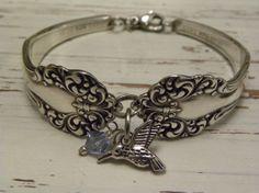 Fork spoon handle bracelet  hummingbird by WhisperingMetalworks, $28.75