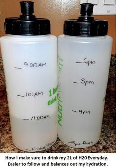 mark bottle(s) to help with water intake  ::mark a water bottle with time goals, if you have a visual reminder of your water progression, you are much more likely to consume it