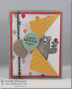 Bear Hugs Birthday Card with the Collar Fold Technique