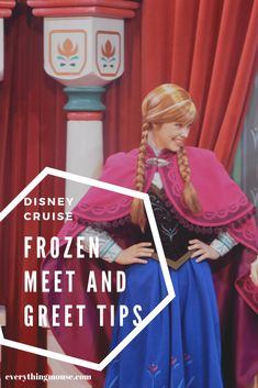 Disney Cruise Tips. The Disney Cruise Frozen Meet and Greet si the best way to get up close and personal with Princess Anna and Queen Elsa; Don't miss this opportunity - find out how to meet Anna and Elsa from Frozen on a Disney Cruise. #DisneyCruiseTips #Disney #DisneyCruiseTips #DisneyCrseuiFrozenMeetandGreet