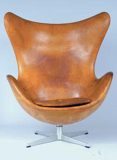 Arne JacobsenThe Egg Chair model 3316Cuir COGNAC original leather  Fritz Hansen, 1966