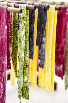 Rainbow Pasta - Spinach, Beetroot, Saffron and Squid Ink. Looks so good!