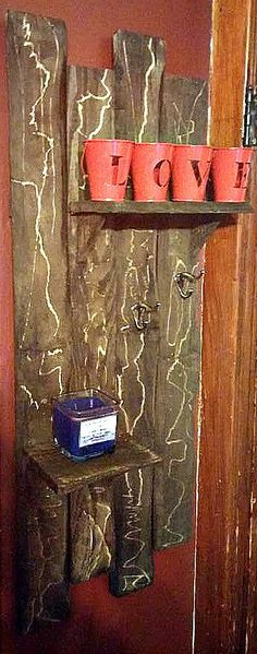 Rustic, distressed, home made, hand made, recycled, upcycled, repurposed, refurbished shelf, Palletium by Palletium on Etsy
