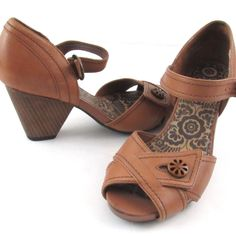 97e4b2a9e5 Indigo by Clarks Brown Peep Toe Heels Size 6M Leather Mary Jane Shoes  Buckle #IndigobyClarks