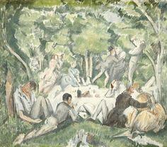 Paul Cézanne, Le déjeuner sur l'herbe, lithographie en couleur, donation Lucien Vollard en 1947. Coll. Musée Léon Dierx.