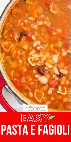 Hearty and thick this Pasta e Fagioli Soup is a favorite. Bursting with flavors, this Italian classic comes together with pantry staples like beans and pasta in one pot. Healthy One Pot Meals, Healthy Soup, Healthy Breakfast Recipes, Delicious Crockpot Recipes, Pasta E Fagioli Soup, Small Pasta, Dump Meals, Vegetarian Soup, Easy Family Meals