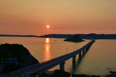 Tsunoshima Bridge - floating in the Sea of Japan - 1,780 meters and second longest in Japan that connects the main island with an isolated island