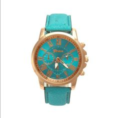 Turquoise Geneva Watch Faux leather band, fits nicely and is very comfortable! Accessories Watches